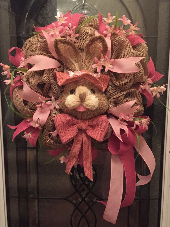 Easter Wreath with Decorative Pink Bunny Rabbit by RoesWreaths