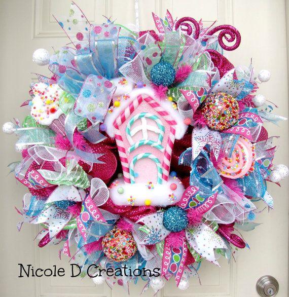 Christmas Candy Wreath- Christmas Wreath- Holiday Wreath- Deco Mesh Wreaths