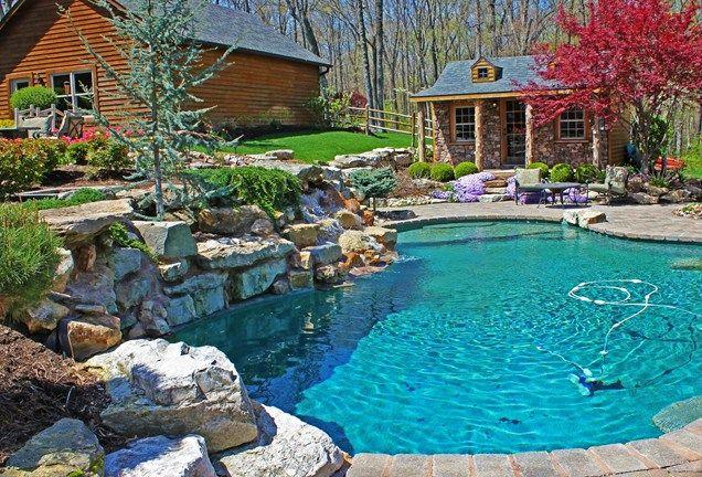 Landscaped pool with a log cabin stunning pools pinterest for Log home landscape design