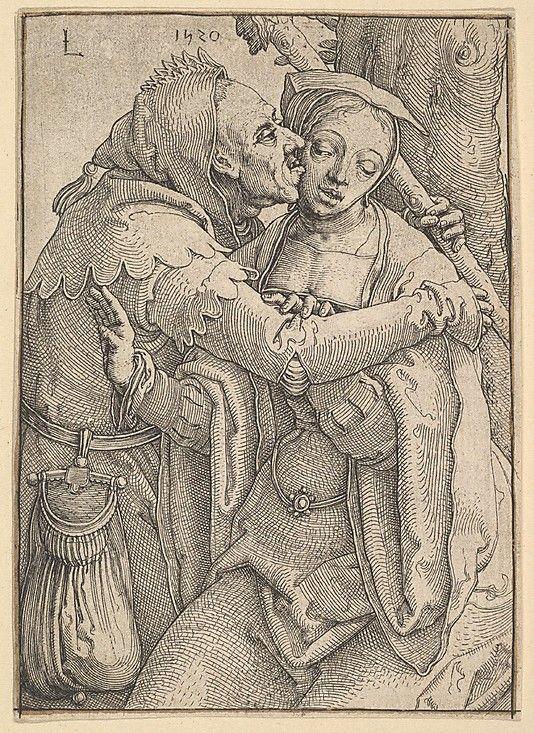 Lucas van Leyden  (Netherlandish, Leiden ca. 1494–1533 Leiden).   A Fool and a Woman,  1520.  Engraving