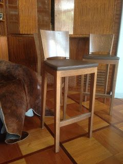 cafechairs: 3 OAK & Leather bar #chairs Sold