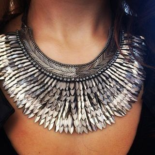 Silver  Metal Spike Statement Necklace | Silver Pegasus Necklace: