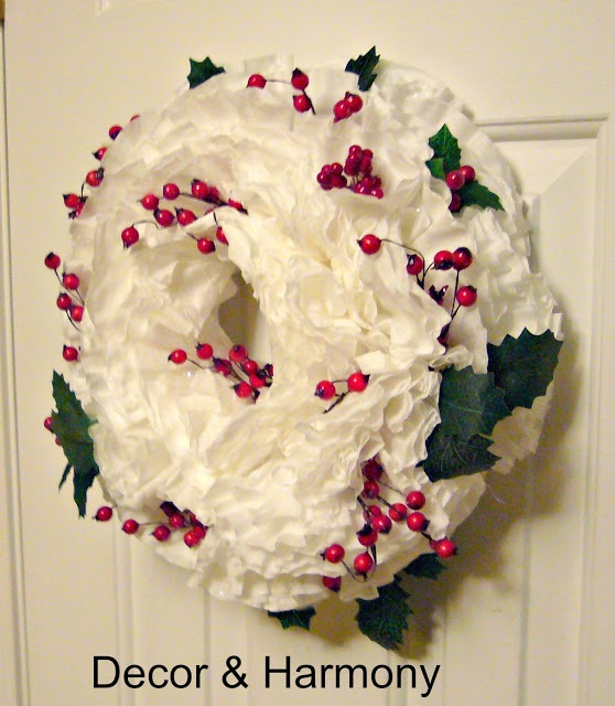 Christmas Decorations For Coffee Shops: Decor & Harmony: Coffee Filter Wreath