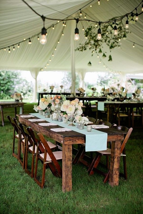 rustic wedding tent with draped fabric and lights / http://www.deerpearlflowers.com/wedding-tent-decoration-ideas/2/