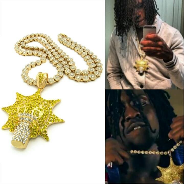 ICED OUT GOLD GLO GANG 300 PENDANT CLUSTER CHAIN NECKLACE CHIEF KEEF HIP HOP #Chain