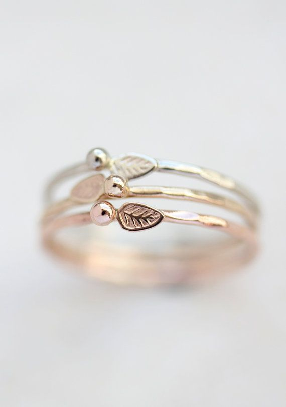 earth brilliant gold willow leaf round white rings budding ring