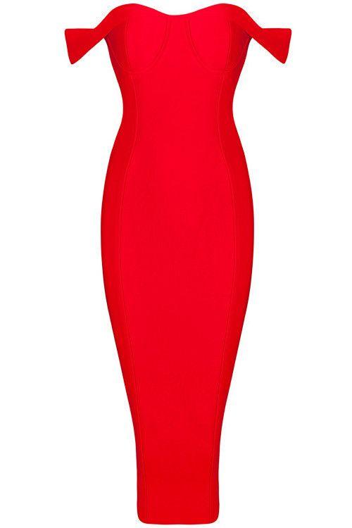 Off The Shoulder Midi Bandage Dress - Red