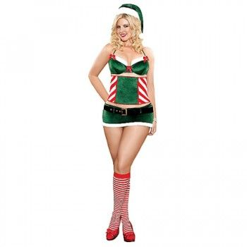 Een sexy setje om samen van de kerstdagen te genieten. Het setje is gemaakt van zacht groen fluweel en is afgezet met wit nepbont.   De groene BH heeft beugelcups en het ultrakorte rokje heeft een brede zwarte riem om de lage tailleband te benadrukken.  De taillevormer met zoet zuurstok motief geeft haar een prachtig silhouet.