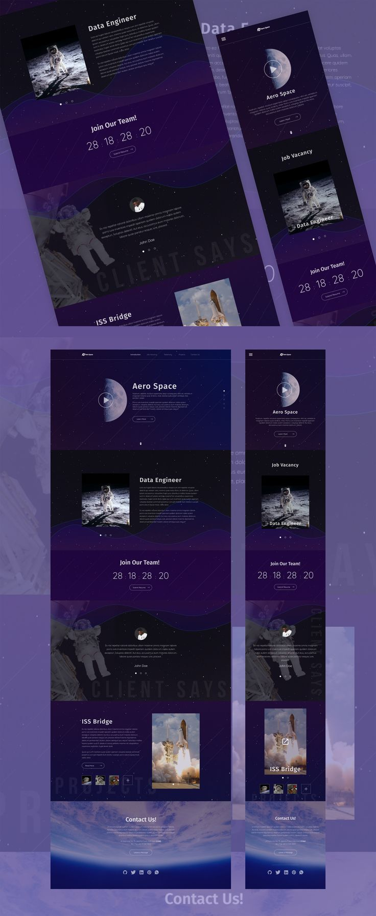 Landing page design insipiration with theme of space & astronaut, this design concept is company website with focus to share job vacancy