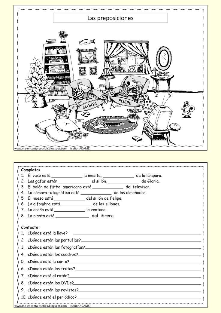 Me encanta escribir en español: Las preposiciones de lugar en la sala de la casa. (ejercicio)