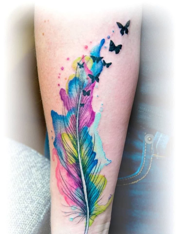 Watercolor Feather Butterfly Tattoo