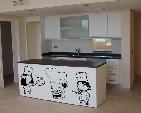 Decoración en Vinilo cocina Tres cocineros.