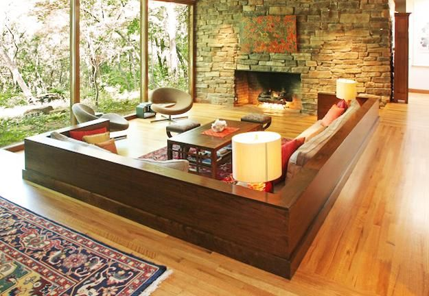 Cozy Living Room Designs with Fireplaces Defined by Sunken ...