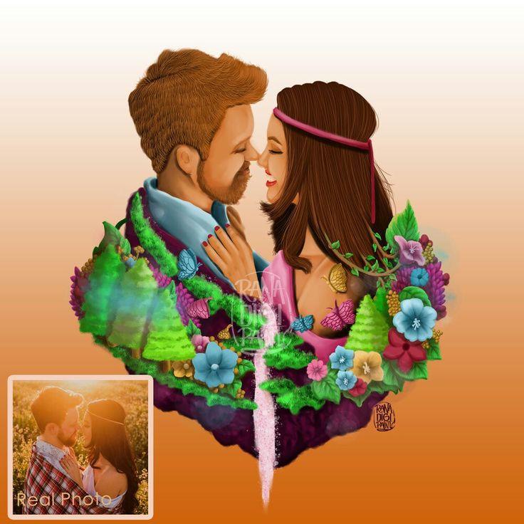 Fairy Couple Floating Island Portrait, Custom Wedding Valentine Gift for Couple Fall In Love, Portrait of Couple Fantasy Illustration http://etsy.me/2DaELox