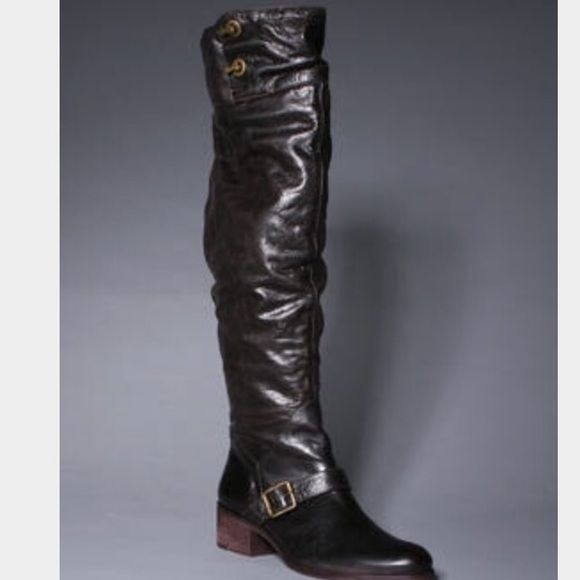 Pour La Victoire leather over the knee boots Pre-loved, very good condition;  incredibly thin and high quality leather;  zipper inside; toes on the back; this is truly a show stopper!!!  Sold everywhere; retail $425.00 Pour la Victoire Vero Cuoio Shoes Over the Knee Boots
