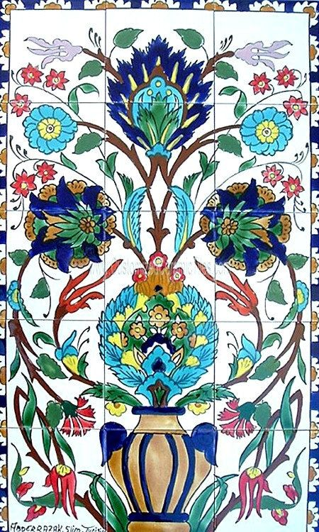 18 x 30 DECORATIVE CERAMIC TILES mosaic panel hand by tunisiandecor, $155.00