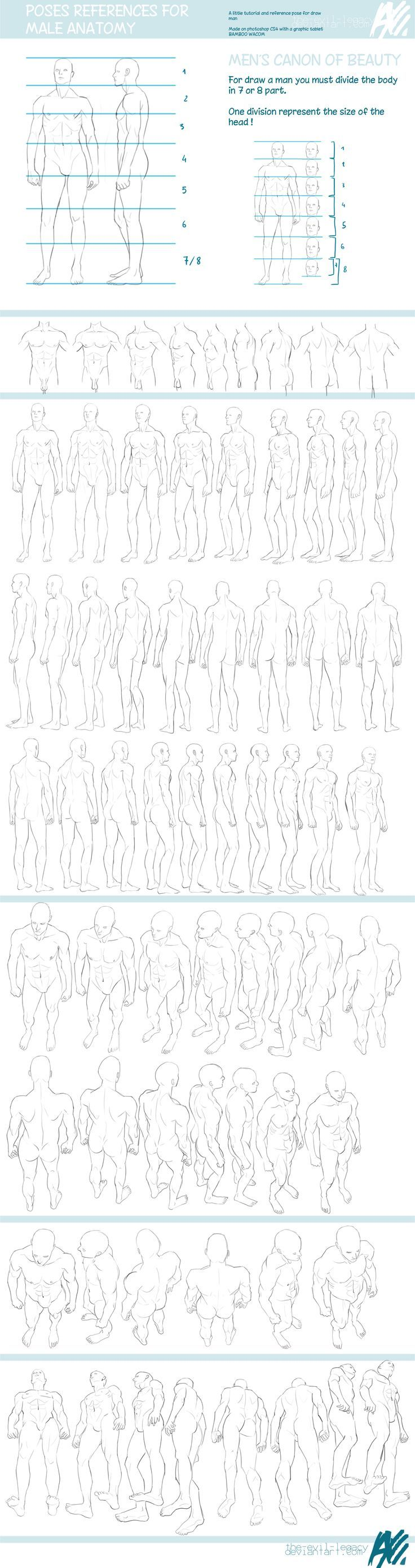 TUTO - male reference pose by ~the-evil-legacy on deviantART https://www.facebook.com/CharacterDesignReferences  Male reference masterpost!