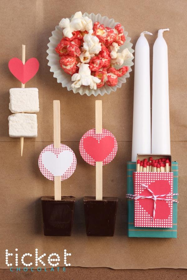 Hot chocolate on a stick!Romantic Movie, Gift Ideas, Diy Gift, Movie Night, Valentine Ideas, Valentine Gift, Hot Chocolates, Valentine'S Ideas, Ticket Chocolates