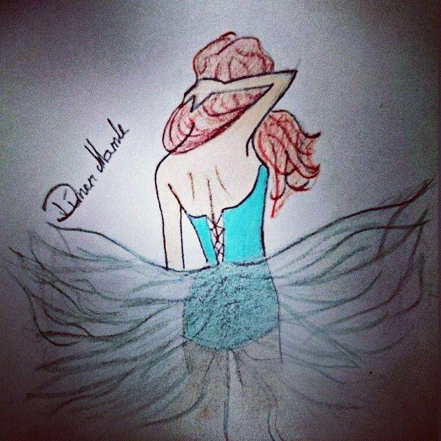 #art #fashion #blue #dress #glam #glamour #illustration