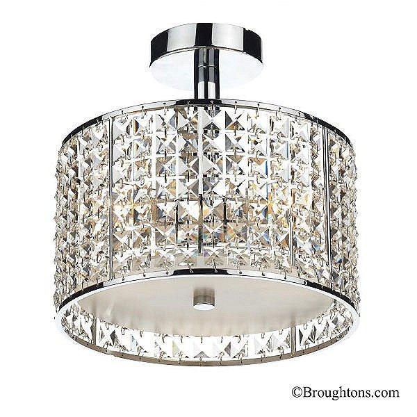 Rhodes 3 light semi flush bathroom ceiling light glass chrome