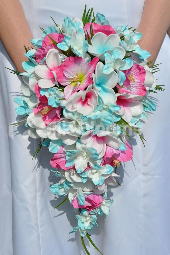 Tropical Aqua and Fuchsia Frangipani Plumeria, Dendrobium Orchid and Hibiscus Cascade Bridal Bouquet