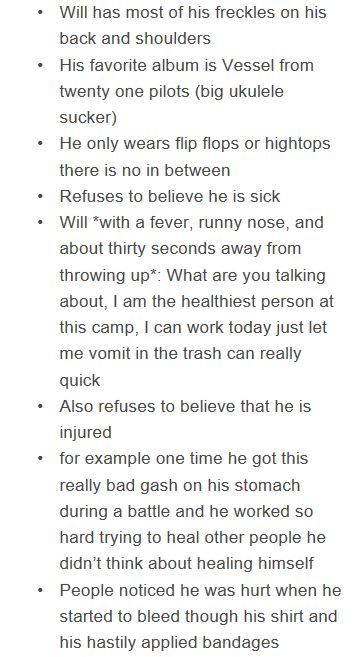 other will headcanons - part 1. My favourite will headcanon is the one about injuried on part 1 and 2