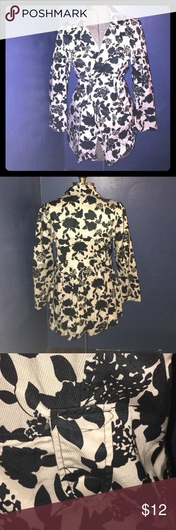Charlotte Russe light black floral spring jacket Charlotte Russe light spring jacket missing its original belt (discounted for that reason) but easy belt replacement would be a general black leather or fabric belt. Extra buttons located on the jacket. Charlotte Russe Jackets & Coats Trench Coats
