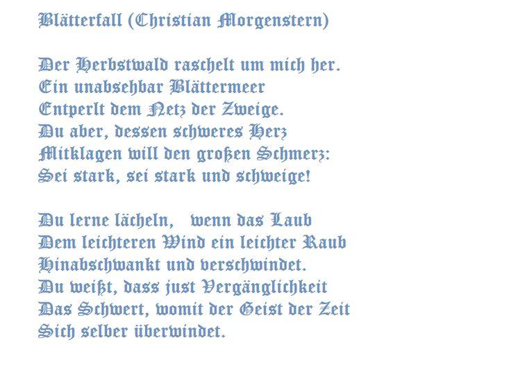 Blätterfall Christian Morgenstern