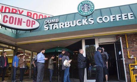 'Dumb Starbucks': comedian Nathan Fielder reveals he set up parody store. The Guardian http://www.theguardian.com/world/2014/feb/10/dumb-starbucks-parody-coffee-store
