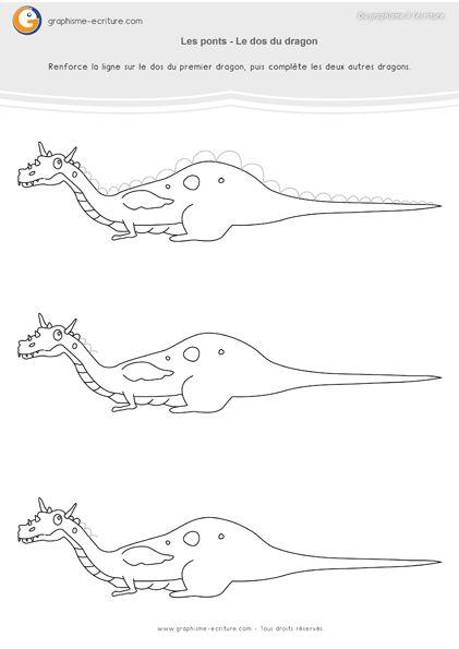Graphisme MS Les ponts à l'endroit – PDF Fiche Maternelle Moyenne Section : Dessiner les écailles de dragon le long de leur dos en se servant d'un feutre fin.