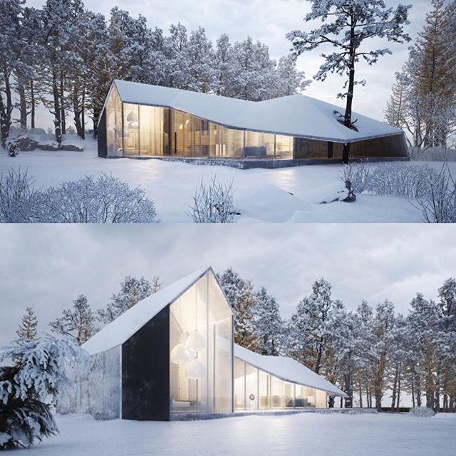 Beautiful inside and outside. Lovely house!  Follow @ommstudio for more great architecture! ************************************* Project: Winter House Design by Sergey Makhno (@makhno_design) **************************************** Sergey Makhno Architects' project titled 'Winter House' boasts contemporary elements that are inspired by #nature. • Referencing the unique formations of ice and snow, the design team creates a stark home that features an angular roof detail. • The woodland #...