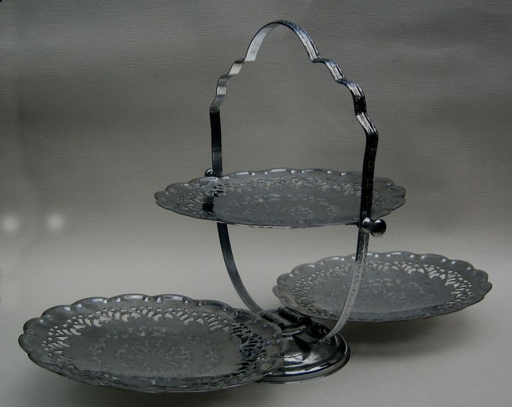 Art Deco Chrome Plate Silver 3 Tier Folding Cake Stand