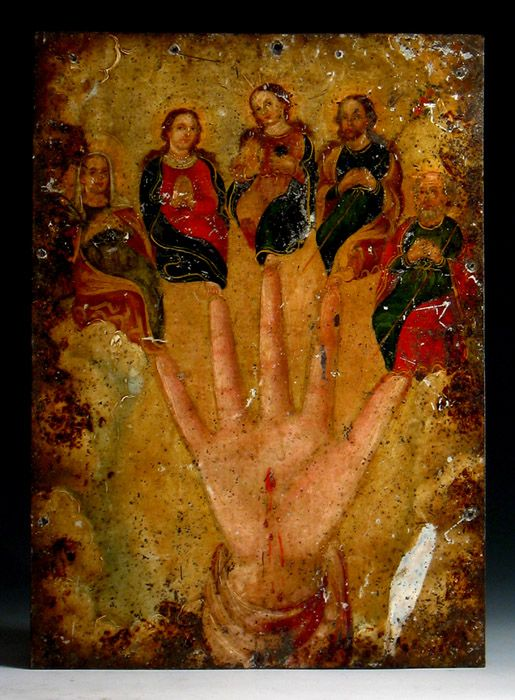 """Most likely painted by Donacio Aguilar, the famous """"""""D. A."""""""" painter. Stable overall, the worn condition of this retablo speaks to a lifetime of use and interaction with it's humble rural Mexican household. . """"La Mano Poderosa"""" attr: D.A. Painter (?) - Mexico"""