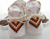 Native American Beaded Baby Moccasins and Soft Soled Shoes made of soft white deer hide leather