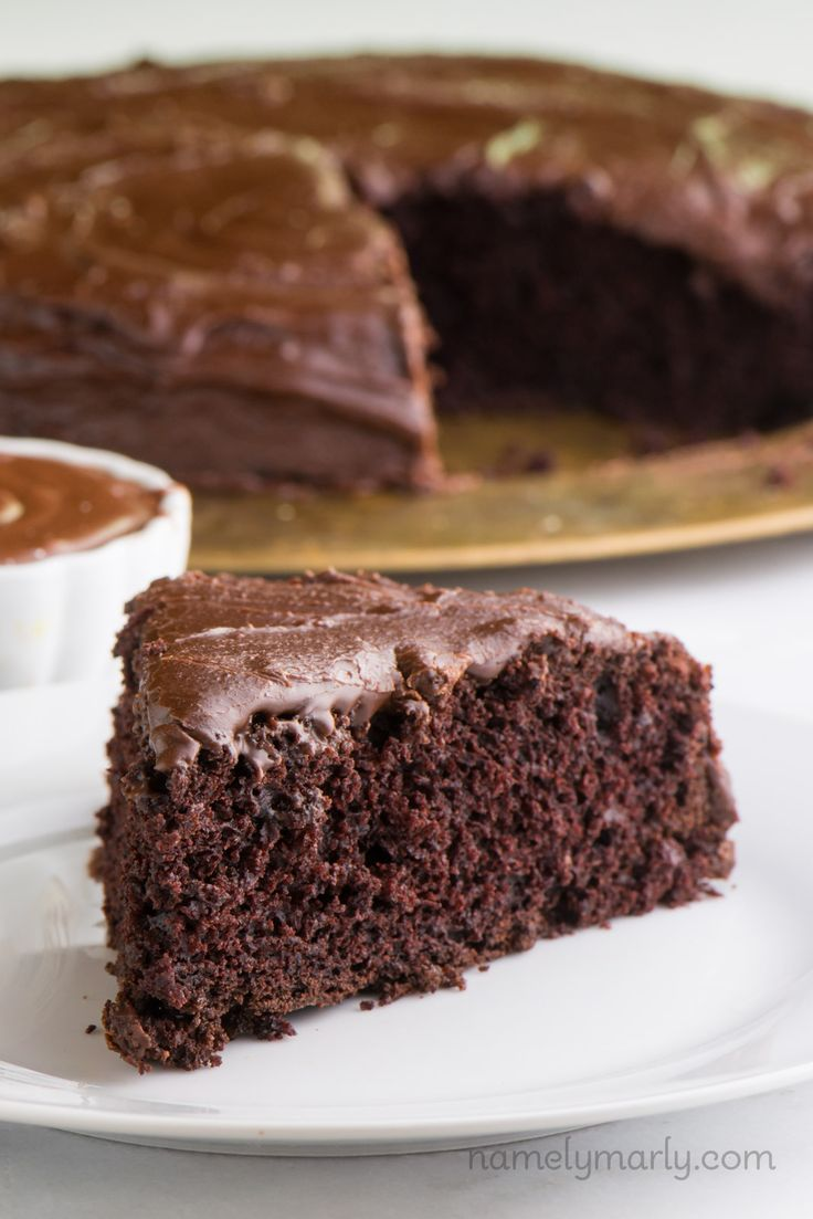 Vegan Chocolate Wacky Cake - a super simple, delicious chocolate cake that will leave you ready for another slice of this delicious chocolate dessert.