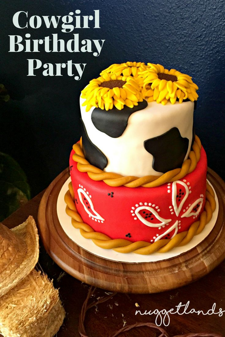 A Cowgirl Birthday party with a western theme that would be perfect for a toddler or teen. See all our ideas for food, centerpieces, cake, birthday girl outfit, craft station, custom cookie favors that isn't just your standard pink and gold. Perfect for girls but the red/yellow/blue color scheme would be perfect for a boy. Oh and we had real horses, pony rides for the win. #birthdayparty #western #cowboy #cowgirl #cake #crafts #birthday #outfits