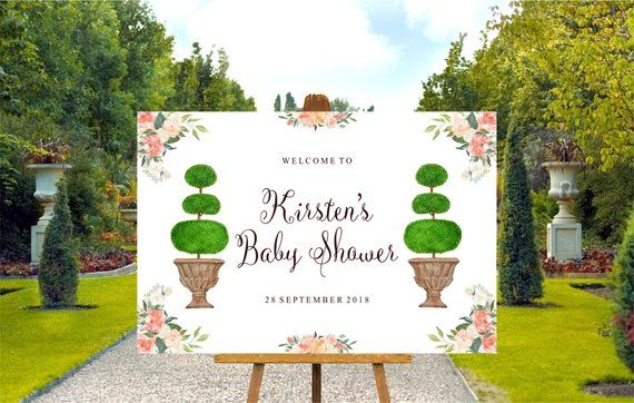 Garden Party Baby Shower Welcome Sign Printable Features Gorgeous Topiary S In Watercolor Baby Shower Shown But Can Be Any Occasion Baby Shower Welcome Sign Baby Shower Parties Baby Shower
