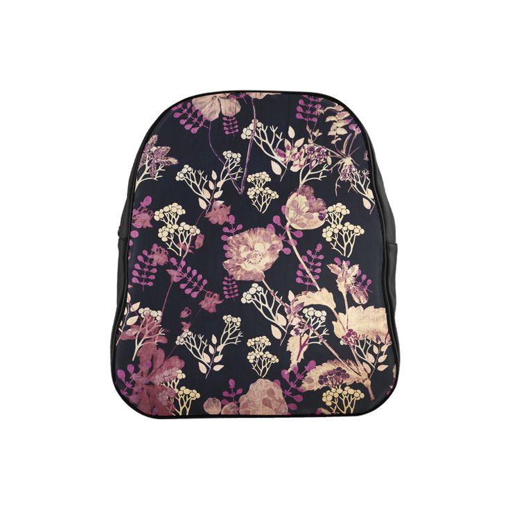 Anne,flowers,floral,black,pink, School Backpack (Model 1601)(Small)