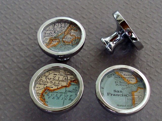 custom atlas vintage map drawer pulls or cabinet knobs