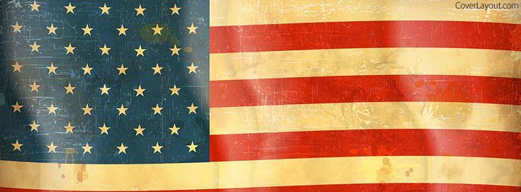 USA Flag Vintage Facebook Cover coverlayout.com