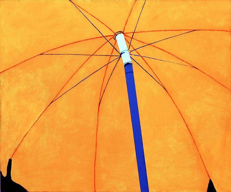 Luca Vernizzi,  Solstizio d'estate, 2000,  tempera, collage, pastello su tela, cm 100x120