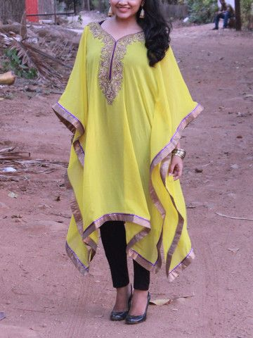 Yellow Kaftan with Pearl/ Stone work with Golden Trims|Sweta Sutariya