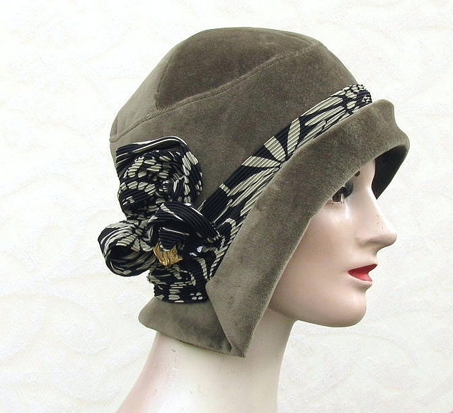 Green Velvet Art Deco Cloche Womens Hat by Vintage Style Hats by Gail, via Flickr