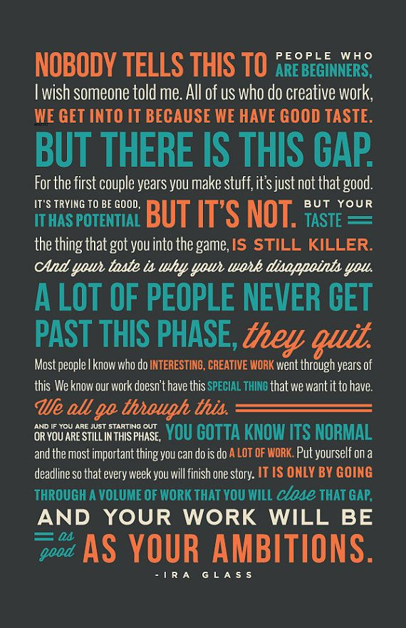 18x24 Ira Glass Quote On Creativity Print by 7Plums on Etsy