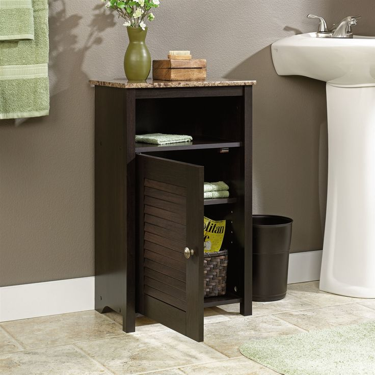 Bathroom Floor Cabinet with Shelf and Faux Granite Top - Quality House