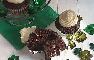 Irish Car Bomb Cupcakes -- Guinness chocolate cupcake, Baileys Irish Creme chocolate ganache, and Irish Whiskey icing...you may need to be 21 to eat these! #St. Patrick's Day
