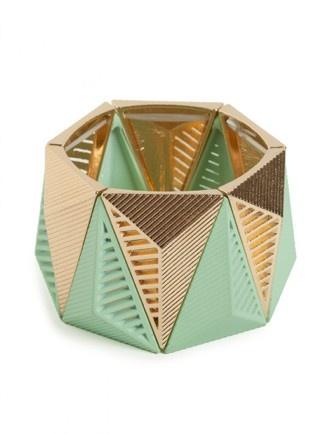 Mint + Gold Pyramid Cuff