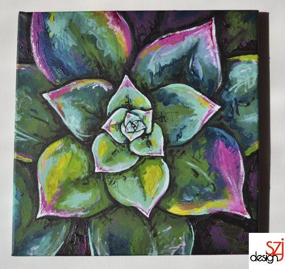 szjdesign: paintings, acrylic, canvas, art, Houseleek