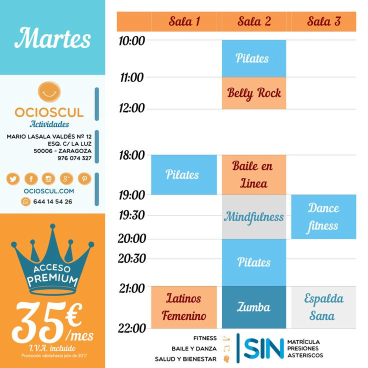 #BuenosDias Actividades de hoy: #Pilates #BellyRock #BaileEnLinea #Mindfulness #DanceFitness #EspaldaSana #Zumba #BailesLatinos (Femenino)