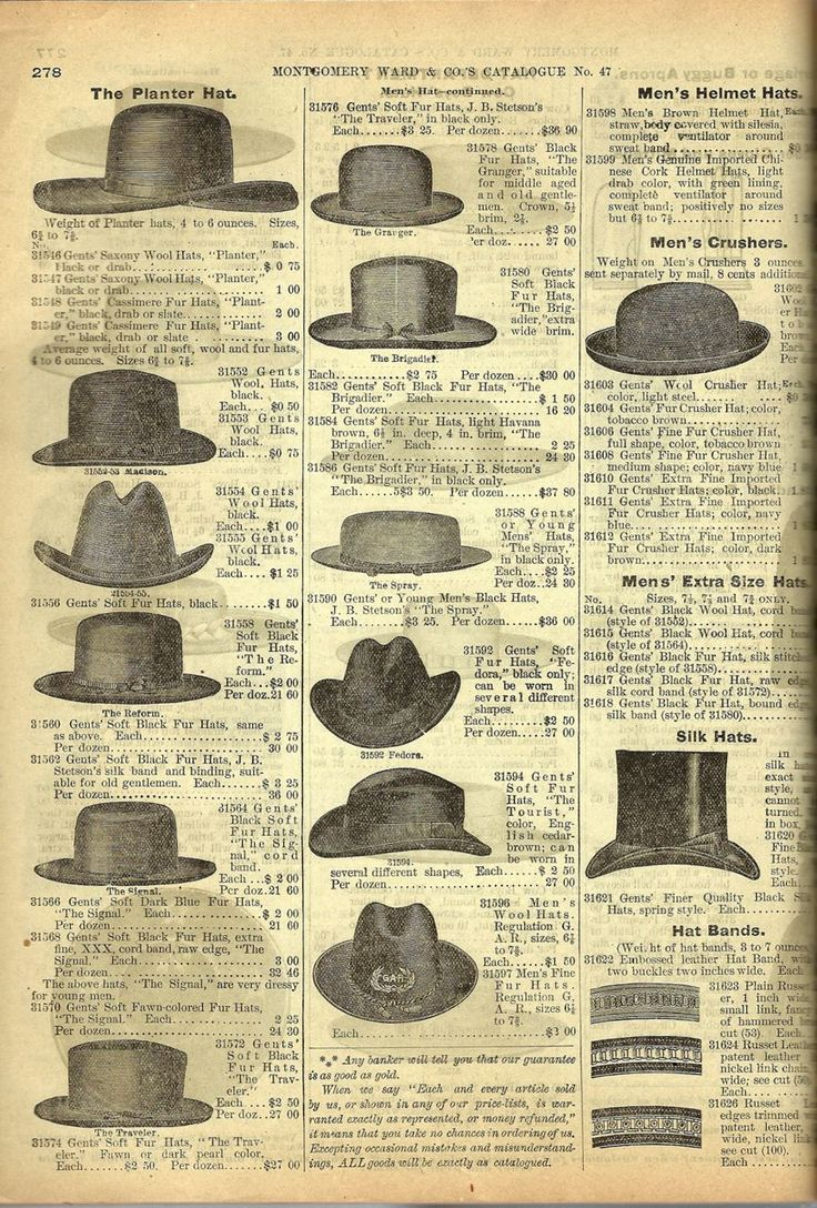 An ad featuring men's hat styles, including the fedora and homburg. Bustle Period.